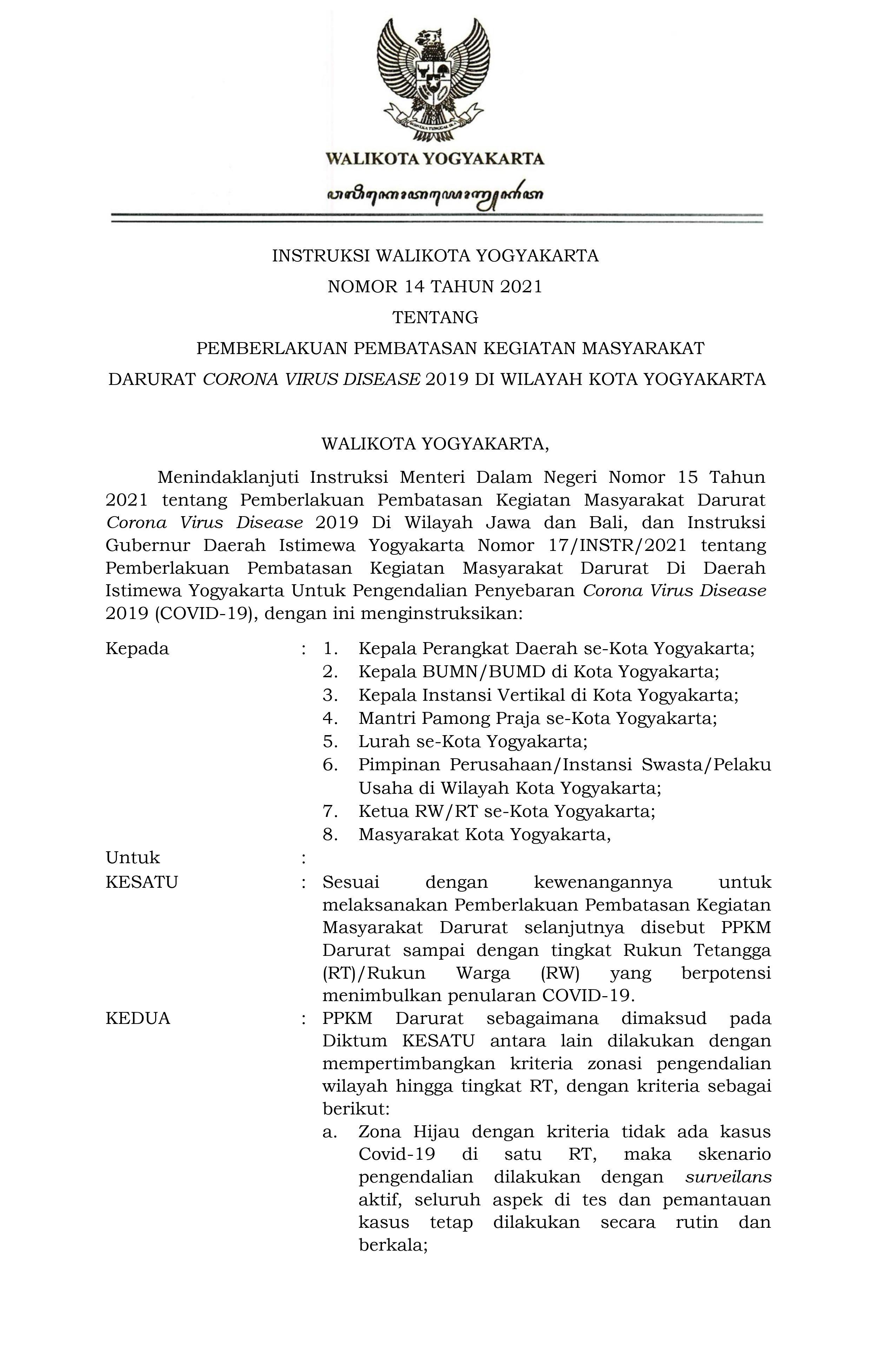 Pemberlakukan PPKM Darurat di Wilayah Kota Yogyakarta